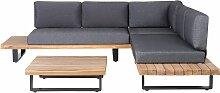 Gartenmöbel 5er Set Grau und Braun aus