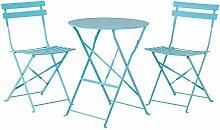 Gartenmöbel Blau - Balkonmöbel - Terrassenmöbel - Tisch mit 2 Stühlen - FIORI