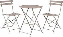 Gartenmöbel Grau-Braun - Balkonmöbel - Terrassenmöbel - Tisch mit 2 Stühlen - FIORI
