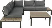 Gartenmöbel mit 6 Sitzplätzen, anthrazitgrau und