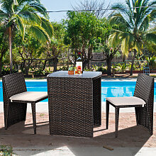 Gartenmöbel Rattan Lounge 3er Set Polyrattan