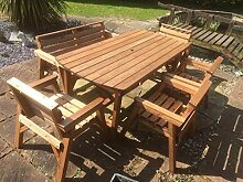 Gartenmöbel-Set, 1 Tisch, 1Bank und 4Stühle,