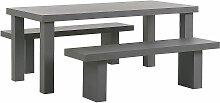 Gartenmöbel Set aus Beton mit großem Tisch und 2