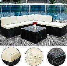 Gartenmöbel-Set aus Rattan, modulare Sitzecke für Wintergarten, Garten und Terrasse, schwarz