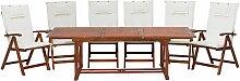 Gartenmöbel Set Dunkelbraun Akazienholz 6-Sitzer