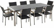 Gartenmöbel Set Grau Granit Edelstahl Tisch 220