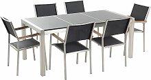 Gartenmöbel Set Grau Schwarz Granit Edelstahl