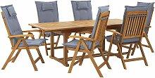 Gartenmöbel Set Hellbraun Akazienholz 6-Sitzer