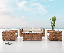Gartenmöbel-Set Nizza Armlehne aus Rattan Natur
