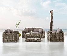 Gartenmöbel-Set Nizza aus grauem Rattan mit