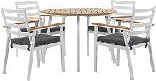 Gartenmöbel Set Tisch mit 4 Stühlen Weiß