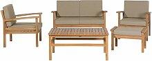 Gartenmöbel Set zertifiziertes Akazienholz Textil