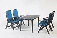Gartenmöbel, Sitzgruppe, Gartengarnitur, Set Bali Anthrazit/Blau 5-teilig ***NEU***