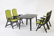 Gartenmöbel, Sitzgruppe, Gartengarnitur, Set Bali Anthrazit/Grün 5-teilig ***NEU***