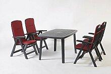 Gartenmöbel, Sitzgruppe, Gartengarnitur, Set Bali Anthrazit/Rot 5-teilig ***NEU***