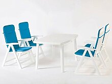 Gartenmöbel, Sitzgruppe, Gartengarnitur, Set Bali Weiss/Blau 5-teilig ***NEU***