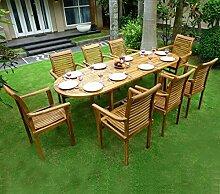 Gartenmöbel, Teak, 8x Gartenstuhl, stapelbar