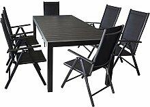 Gartenmöbel Terrassenmöbel Set Sitzgruppe Sitzgarnitur - Aluminium / Polywood Ausziehtisch 224/284/344x100cm, für bis 12 Personen + 6x Hochlehner mit hochwertiger 2x2 Textilenbespannung, 7-fach verstellbar, klappbar