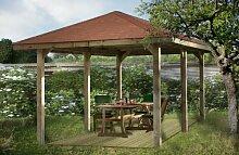 Gartenoase 651 D - Ausführung: Gr. 1, Variante: mit Dachschindeln, Schindel- bedarf: 13 Pkt., Bemaßung: Firsthöhe 291 cm, Traufhöhe 205 cm, Außenmaß: 584 x 333 cm