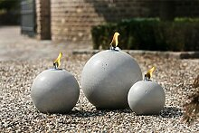 Gartenöllampe Gartenkugel, Kugelöllampe,betongrau, D x H 30 x 33cm; Fackel, Gartendeko, Kugel