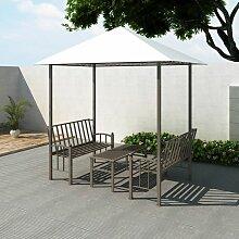 Gartenpavillon mit Tisch und Bänken 2,5 x 1,5 x