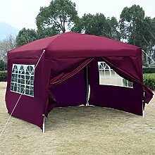 Gartenpavillon Partyzelt Pavillon 3 x 3 m Gartenzelt Hochzeit Festzelt Zelt mit Fenster Farbwahl (Weinrot)