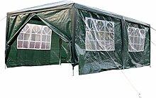 Gartenpavillon Partyzelt Pavillon XXL 3 x 6 m Gartenzelt Hochzeit Festzelt Zelt mit Fenster Farbwahl (Grün)
