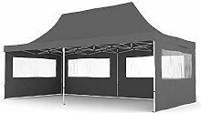 Gartenpavillon TENT06 Aluminium Faltpavillon 3 x 6 m Anthrazi