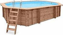 Gartenpool SEA BREEZE, Schwimmbad Auf- und Erdeinbau, Holz, Längliches Schwimmbecken, 6,07 x 3,96 x 131 cm, Pumpe, Poolleiter, Skimmer