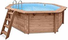 Gartenpool TROPICAL SUNSHINE, Schwimmbad Auf- und Erdeinbau, Holz, Oktogonal Schwimmbecken, 4,34 x 4,01 x 1,16 m, Pumpe, Poolleiter, Skimmer