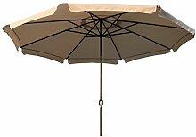 Gartenschirm 4m Kurbel taupe beige oder grau Alu Sonnenschirm Marktschirm Schirm, Farbe:beige