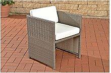Gartensessel grau Gartenstuhl Polyrattan Lounge