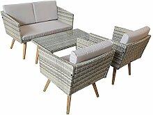 Gartenset Cassis gelb-grau-beige meliert Lounge Garten Set Neu Gartenmöbel retro Design Neu günstig Jet-Line kaufen