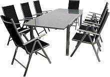 Gartensitzgruppe in Schwarz und Grau klappbaren