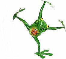 Gartenskulptur Frosch Dancer 50cm Gartendeko Metall