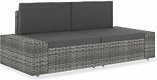 Gartensofa 2-Sitzer Lounge Sofa Poly Rattan