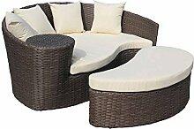 Gartensofa mit Hocker - Halbrunde Lounge-Insel -