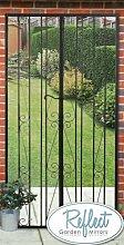 Gartenspiegel, Gartentor-Optik, Metall, 1,8mx0,9m, Schwarz