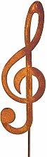 Gartenstab 'Notenschlüssel' aus Metall