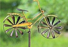Gartenstab Fahrrad aus Metall 130 cm Gartenstecker Blumenstecker Dekoration (Gelb)