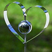 Gartenstab Galaxy Herz Edelstahl silber Länge 120 cm, Gartendeko, Stab, Garten, Heart, Gartenstecker