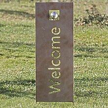 Gartenstab Welcome Eisen grau Höhe 117 cm,