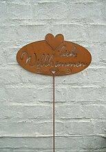 Gartenstab, Willkommen, Rankstab, Eisen , Rost , 105 x 28 cm