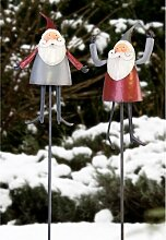 Gartenständer Funny Santa 1 Stück rot oder grau 140 cm Gartendekoration Weihnachtsdekoration Gartendeko Adven