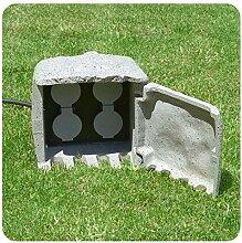 Gartensteckdose Stein mit 4 Schuko Steckdosen