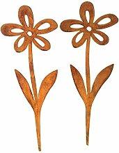Gartenstecker 2er Set Blumen Metall Rost