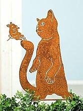 Gartenstecker 'Katze & Maus', 46 cm, rostfarben