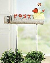 Gartenstecker 'Post-/Zeitungsbox', 100 x 40 x 12 cm, weiß/orange