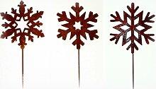 Gartenstecker 'Schneeflocke' aus Metall