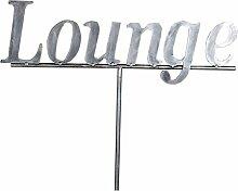 Gartenstecker 42x138cm Lounge Metall silber Antikfinish Pflanzstab Gartendeko